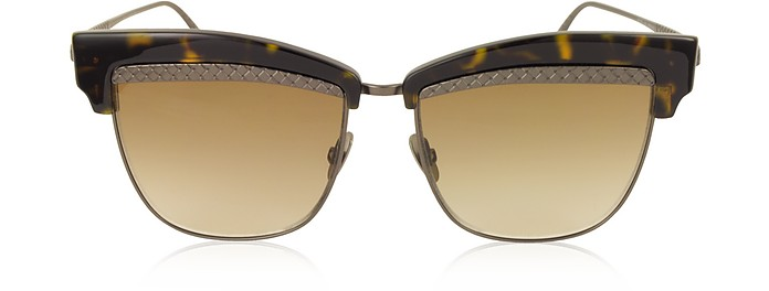 BV0075S 003 Havana Brown Metal and Acetate Women's Sunglasses - Bottega Veneta