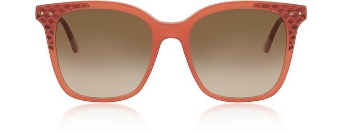 BV0118S 003 Matte Pink Acetate and Leather Women's Sunglasses - Bottega Veneta