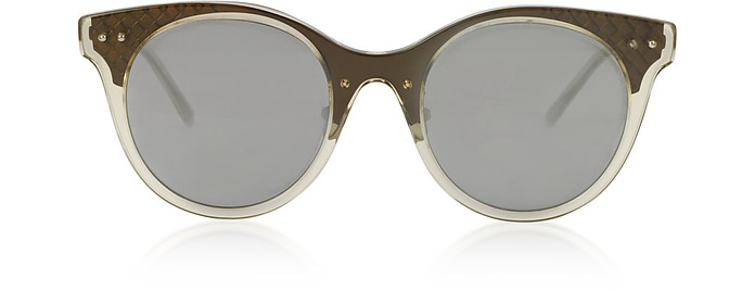 BV0143S 003 Transparent Acetate and Bronze Metal Women's Sunglasses - Bottega Veneta
