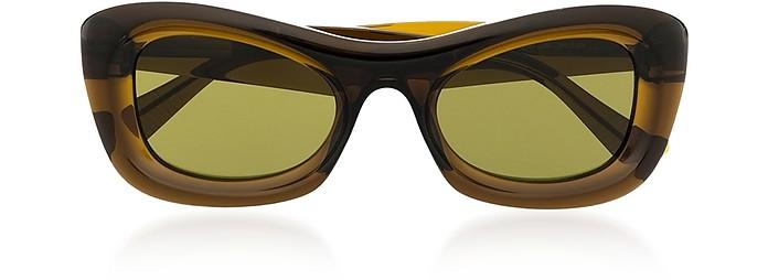 Green Rectangle Transparent Acetate Frame Women's Sunglasses - Bottega Veneta