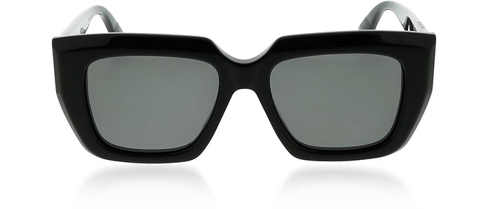 Black Rectangle Acetate Frame Women's Sunglasses - Bottega Veneta