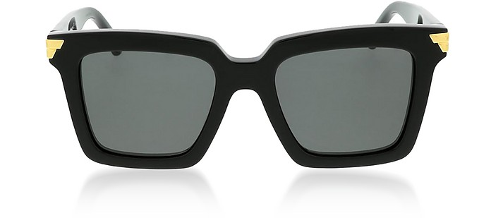 Black Squared Acetate Frame Women's Sunglasses - Bottega Veneta