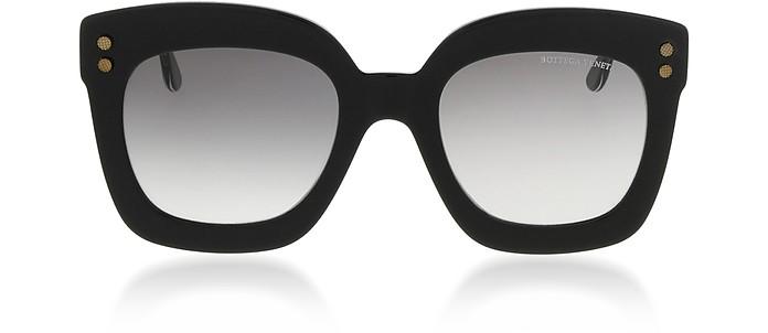 Black Square Acetate Frame Women's Sunglasses - Bottega Veneta