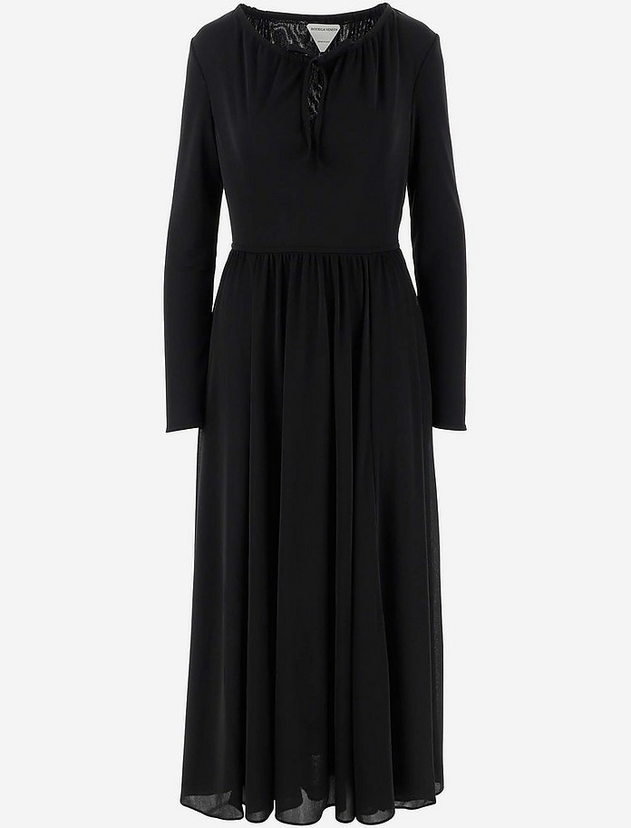 Black Long Sleeve Women's Dress - Bottega Veneta