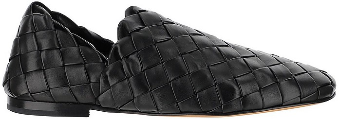 Black Woven Leather Almond Flat Loafers - Bottega Veneta