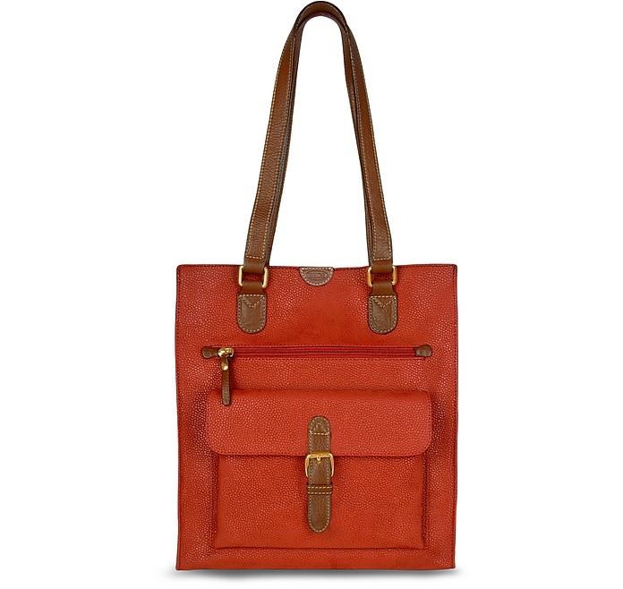 in con rossa Life camoscio Shopping Bric's pelle taschina e frontale bag tFq0gwU