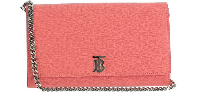 Pink Leather Monogram On-Chain Wallet Clutch - Burberry