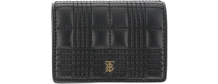 Black Leather Credit Card Holder With Chain - Burberry