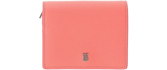 Pink Leather Credit Card Holder With Chain - Burberry