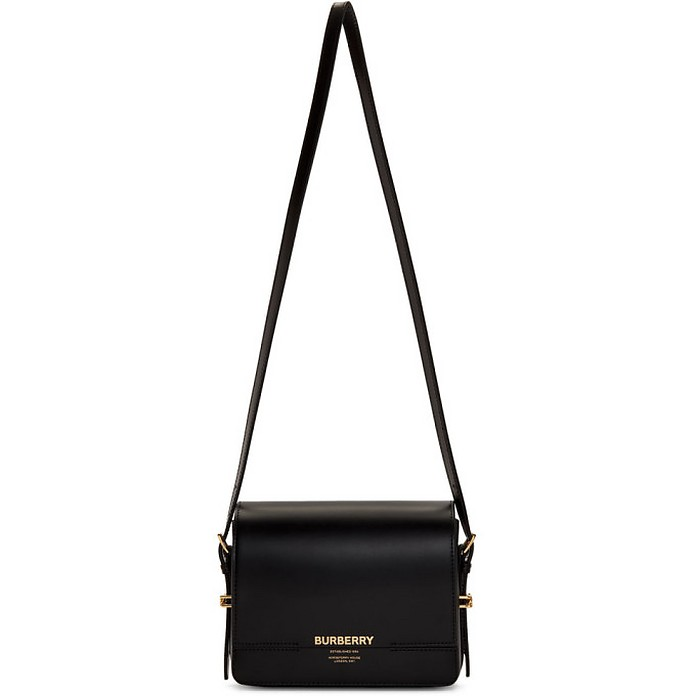 Black Leather Small Grace Bag - Burberry