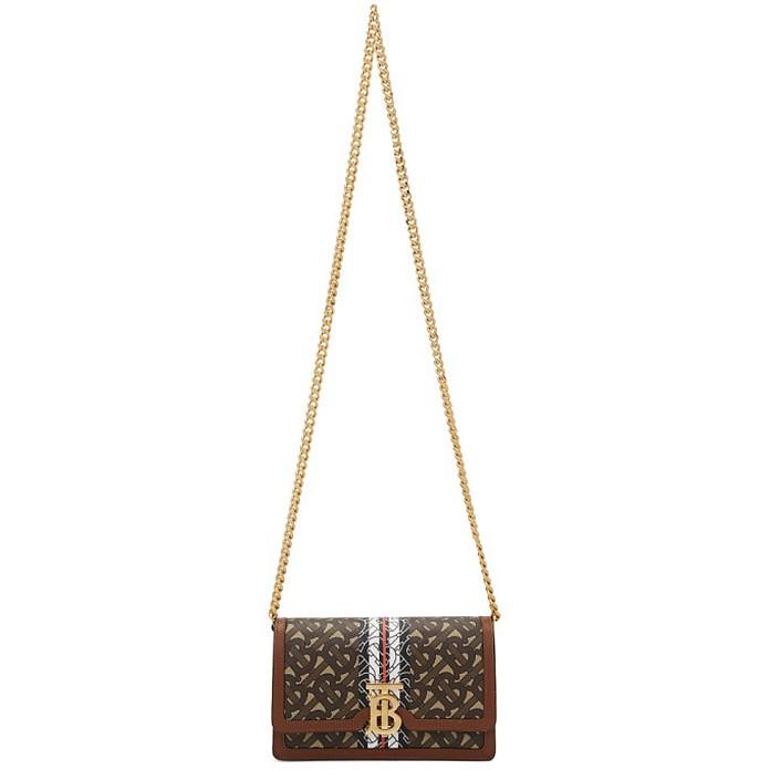 Brown E-Canvas Carrie Monogram Shoulder Bag - Burberry