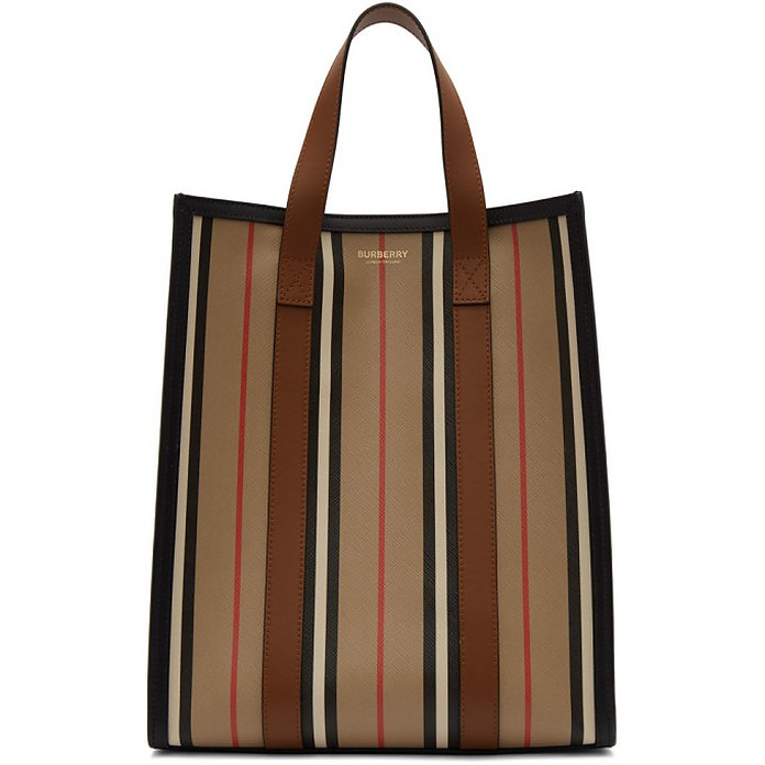 Beige and Multicolor Small Striped Canvas Tote - Burberry