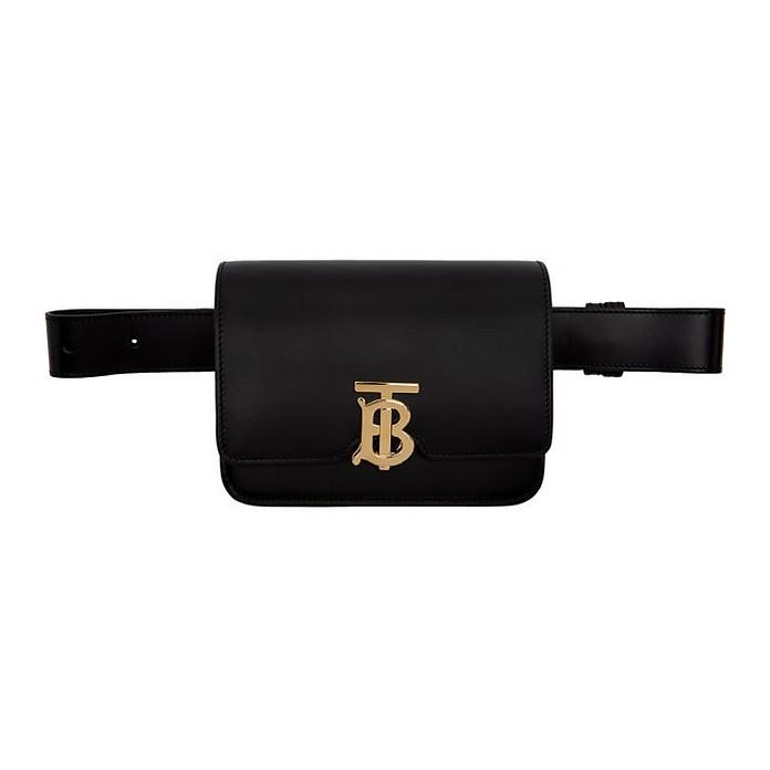 Black Leather TB Bum Bag - Burberry