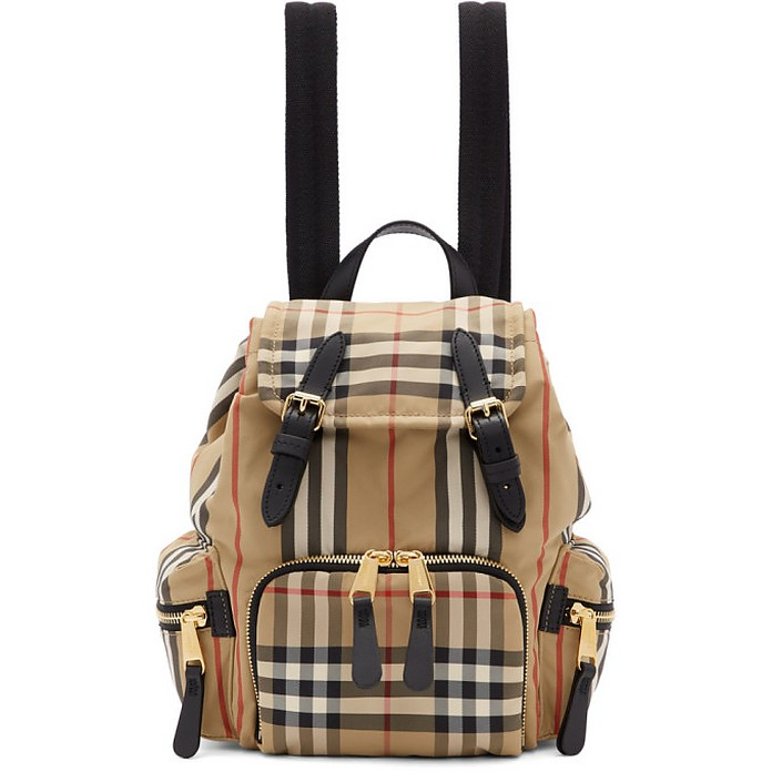 Beige Small Heritage Check Rucksack - Burberry