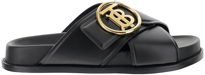 Black Monogram Slide Sandals - Burberry
