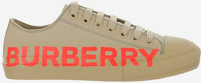Dark Honey Gabardine Cottone Signature Low Top Women's Sneakers - Burberry