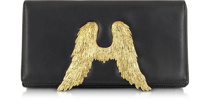 Black Nappa Leather Clutch w/Angel Wings - Bernard Delettrez