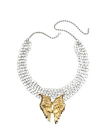 Silver Chains with Bronze Wings Necklace - Bernard Delettrez