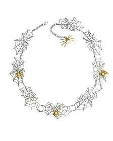 Bronze Spiders on Silver Web Necklace - Bernard Delettrez