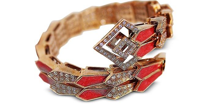 Pink Gold Spiral Double Snake Bracelet w/ Diamonds & Salmon Pink Enamel - Bernard Delettrez