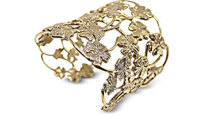 Brass Multi Four-Leaf Clovers Flat Cuff Bracelet - Bernard Delettrez