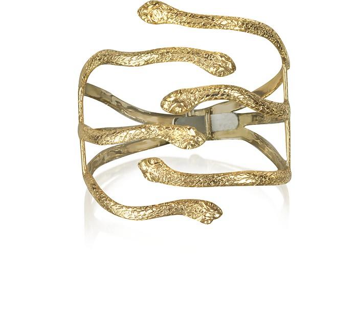 Six Snake Bronze Cuff Bracelet - Bernard Delettrez