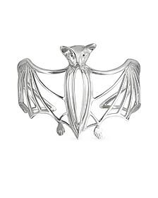 Silver Cated Bat Cuff Bracelet