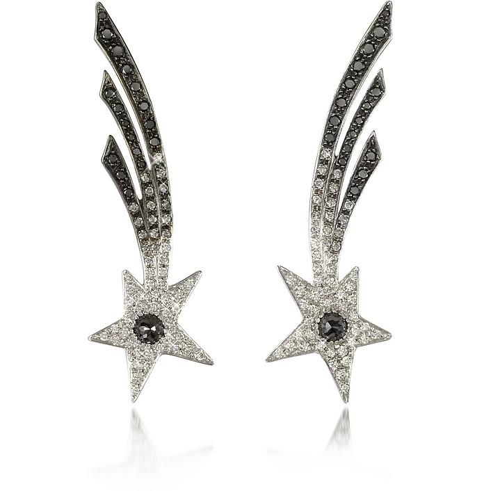 Shooting Stars White Gold Earrings w/Diamonds  - Bernard Delettrez
