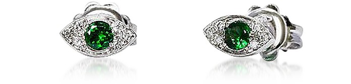 Gold Mini Eyes Earrings w/ Diamonds & Tsavorites - Bernard Delettrez