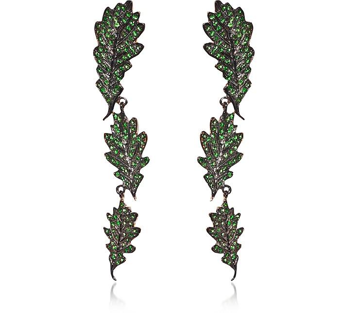 Oak Leaves Long Gold Earrings w/ Tsavorites - Bernard Delettrez