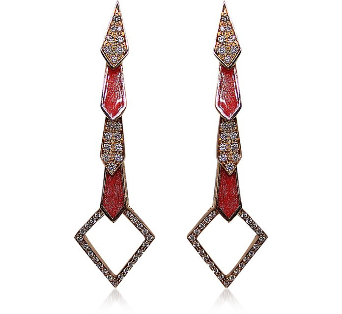 Pink Gold Snake Earrings w/ Diamonds&Salmon Pink Enamel - Bernard Delettrez