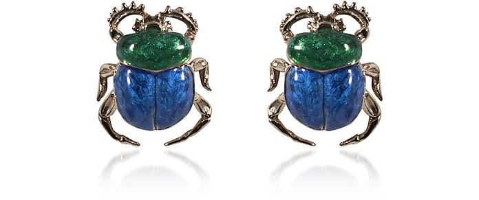 Boucles d'Oreille en Argent Scarabée Vert et Bleu - Bernard Delettrez
