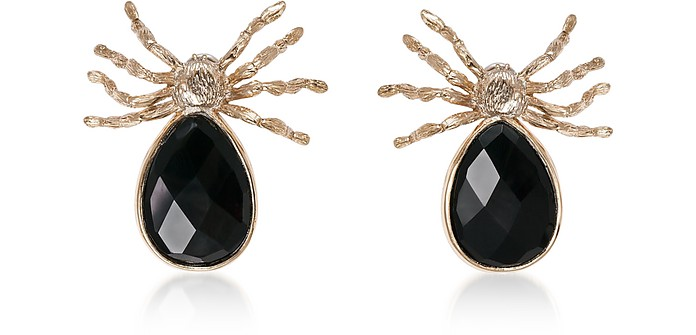 Giant Spider Earrings w/ Onyx - Bernard Delettrez