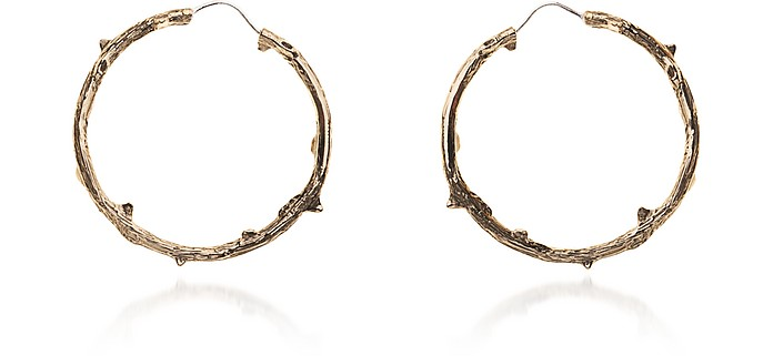 Bronze Thorny Branch Hoop Earrings - Bernard Delettrez