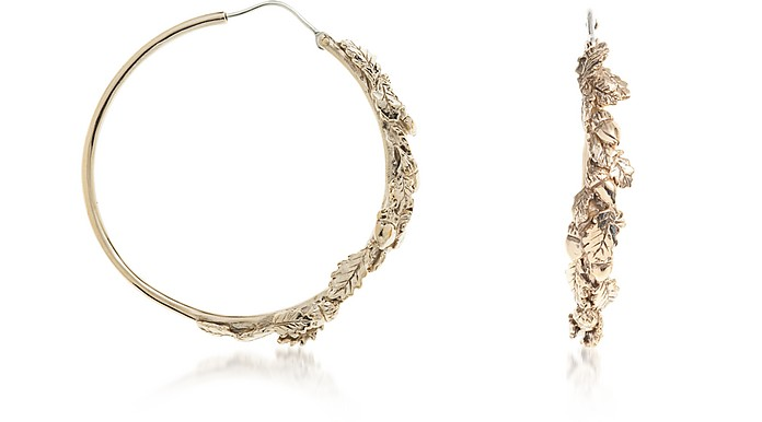 Oak Leaves Bronze Hoop Earrings - Bernard Delettrez