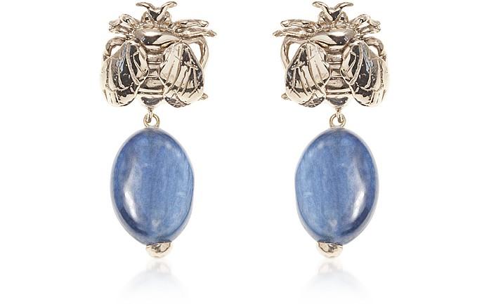 Bee Bronze Earrings w/ Cianite - Bernard Delettrez / ベルナール デレトレズ