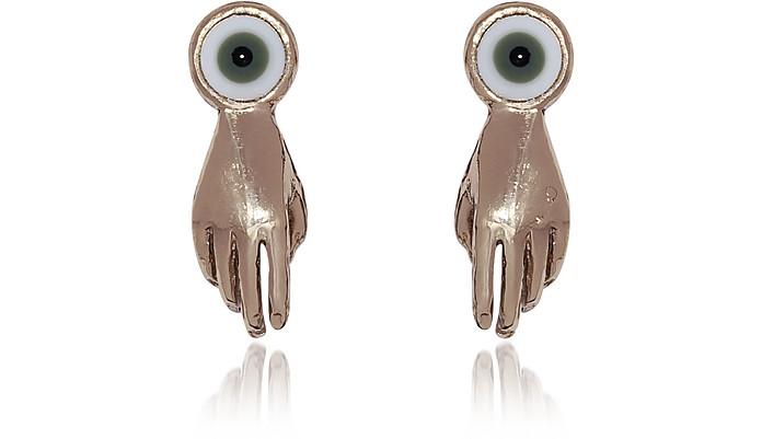 Small Bronze Hand Earrings w/ Green Eye - Bernard Delettrez