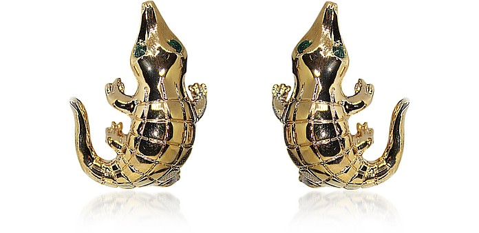 Smooth Crocodile Bronze Earrings - Bernard Delettrez