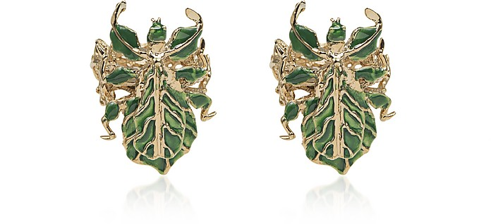 Leaf Insect Bronze Earrings w/ Enamel - Bernard Delettrez