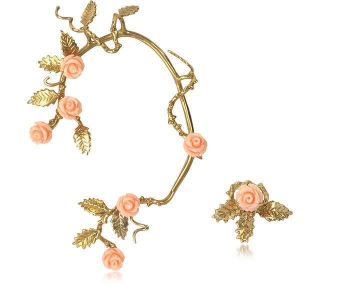 Bronze Ear Cuff w/Pale Pink Resin Roses - Bernard Delettrez