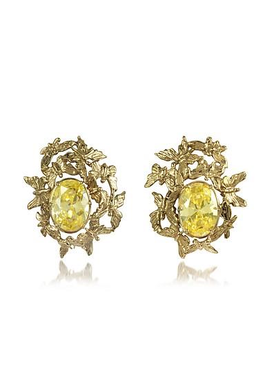 Butterflies Bronze Ohrringe mit gelben Zirkonen - Bernard Delettrez
