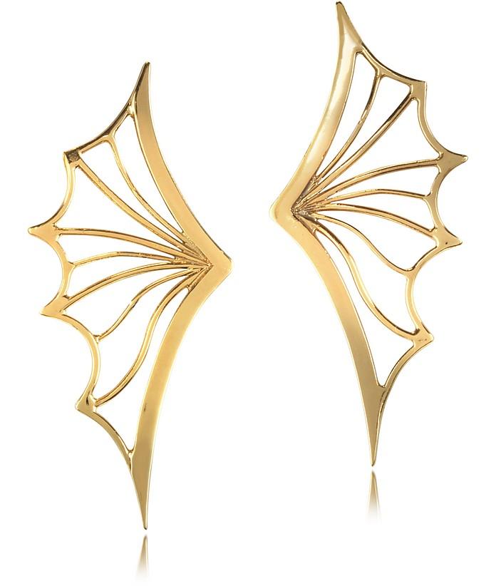 Bronze Bat Wing Earrings - Bernard Delettrez