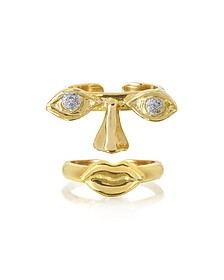 Face 9K Gold Midi Ring Two Pieces w/Eyes/Nose and Mouth - Bernard Delettrez