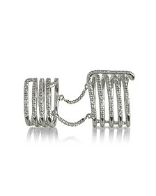 Seven Bands White Gold Articulated Ring w/Diamonds Pave