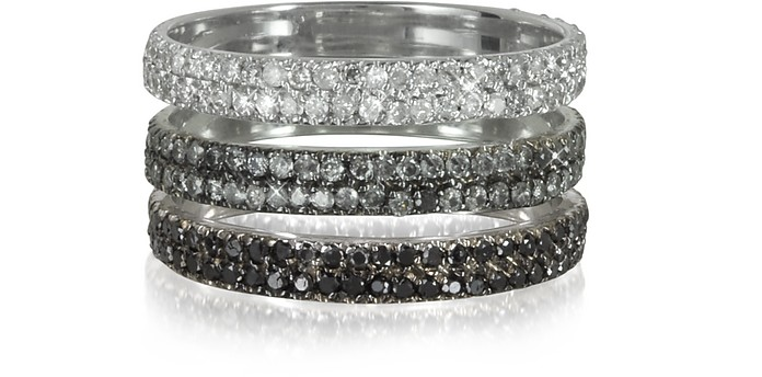 Triple Band 18K White Gold Ring w/White, Grey and Black Diamonds - Bernard Delettrez