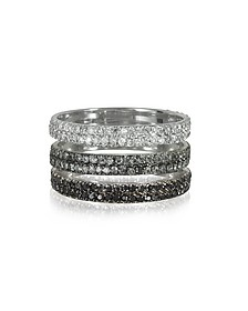Triple Band 18K White Gold Ring w/White, Grey and Black Diamonds