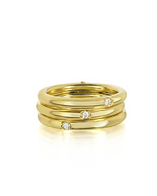 18K Gold Triple Secret Ring w/Diamonds - Bernard Delettrez