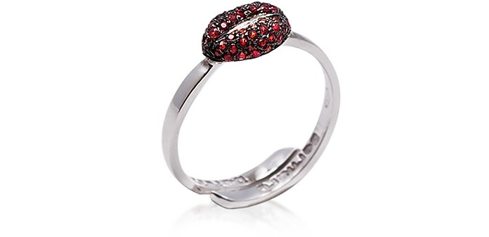 Mini Lips Gold Band RIng w/ Pavé Red Sapphires - Bernard Delettrez