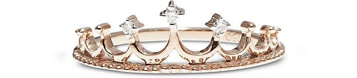 Pink Gold Crown Ring w/ Diamonds - Bernard Delettrez