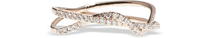 Pink Gold Twist Ring w/ Diamonds - Bernard Delettrez